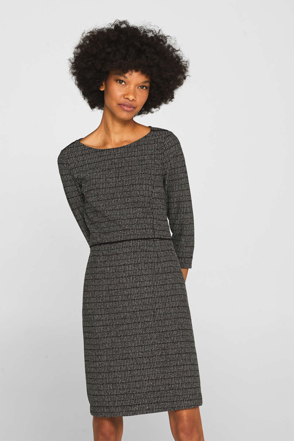 Esprit - Robe en jersey stretch à carreaux jacquard