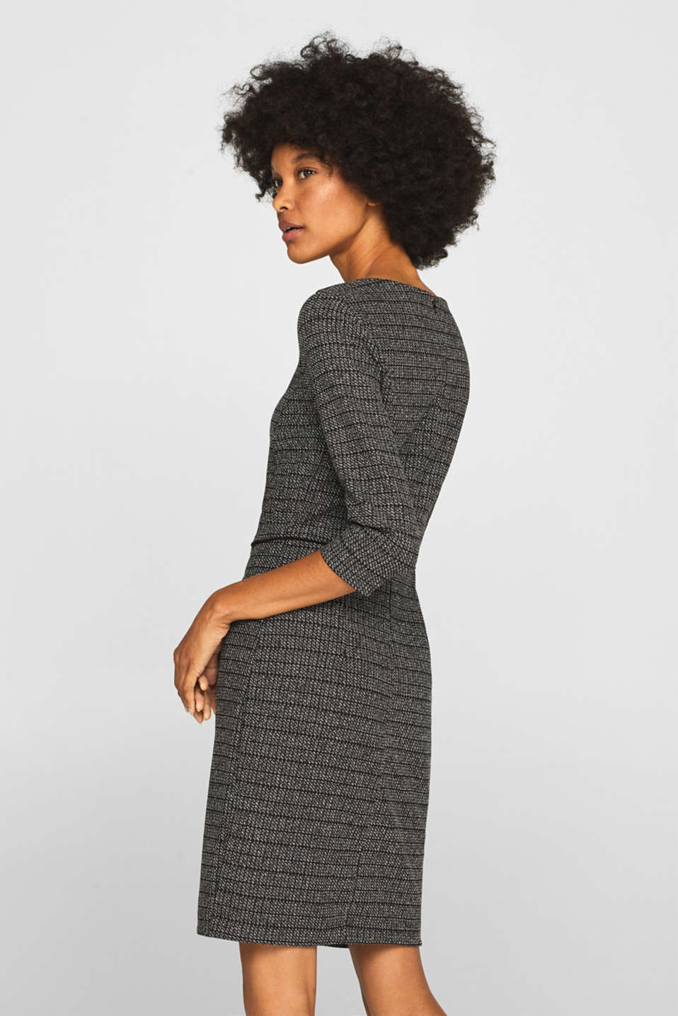 Stretch jersey dress with a jacquard check pattern, BLACK, detail image number 2