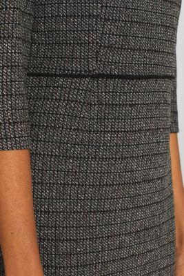 Stretch jersey dress with a jacquard check pattern, BLACK, detail