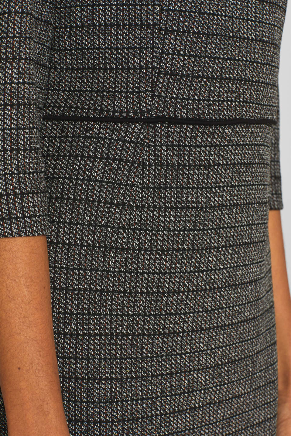 Stretch jersey dress with a jacquard check pattern, BLACK, detail image number 4