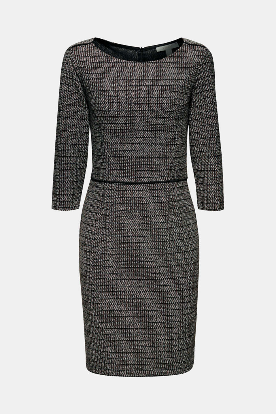 Stretch jersey dress with a jacquard check pattern, BLACK, detail image number 5