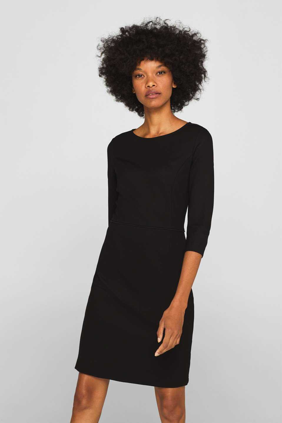 Jersey stretch dress with piping, BLACK, detail image number 0