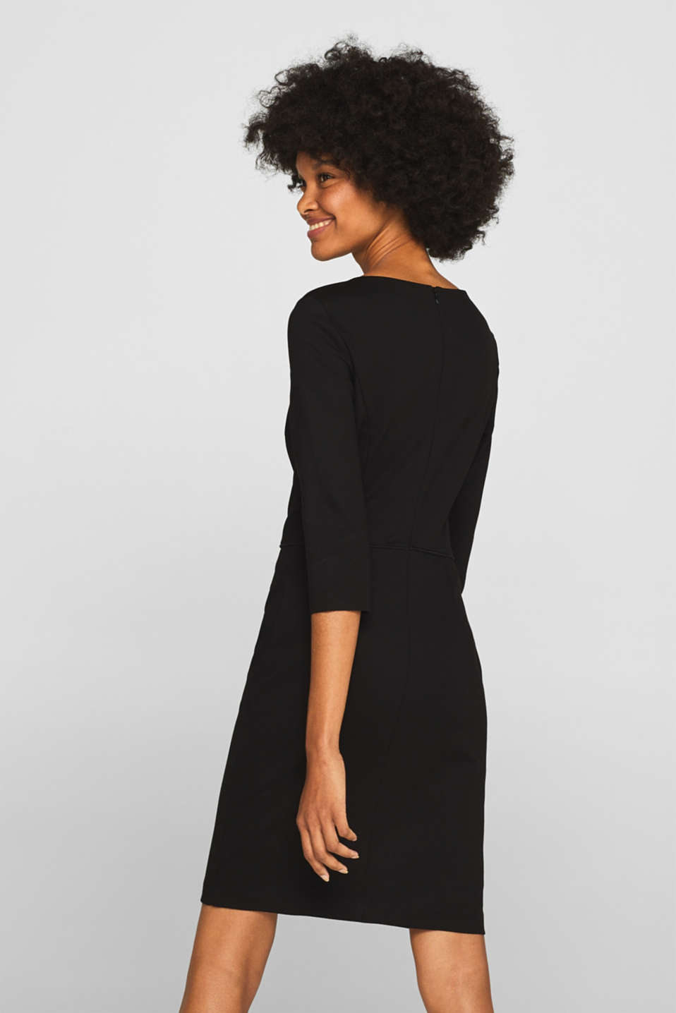 Jersey stretch dress with piping, BLACK, detail image number 2