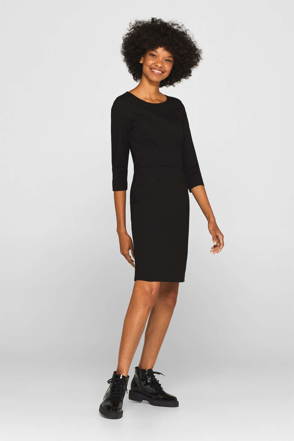 Jersey stretch dress with piping, BLACK, detail image number 5