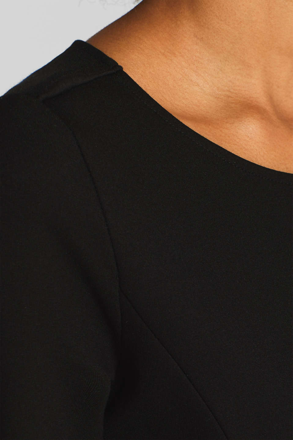 Jersey stretch dress with piping, BLACK, detail image number 6