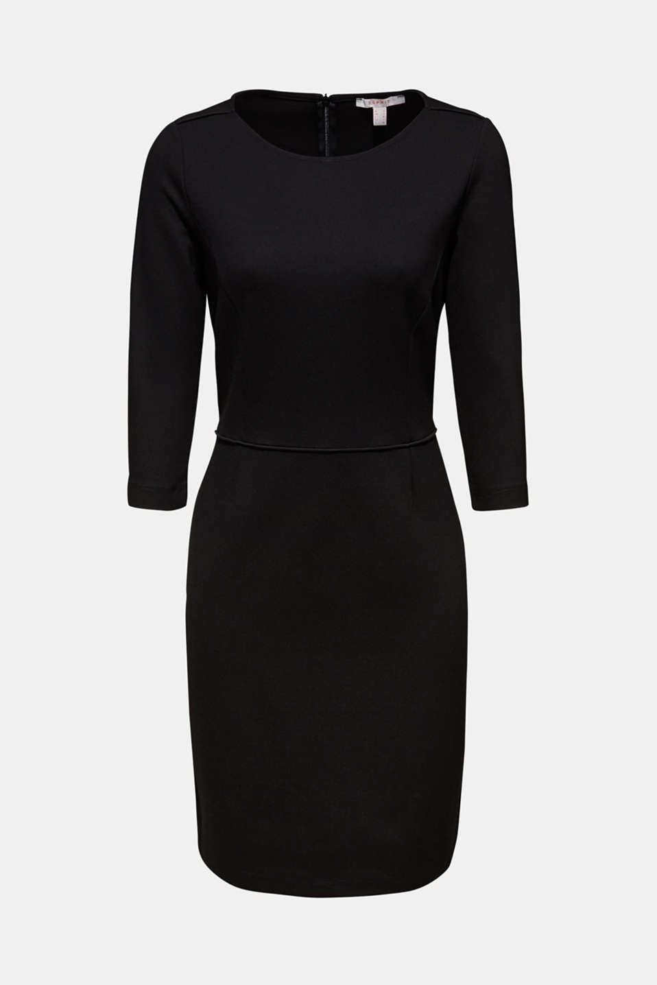 Jersey stretch dress with piping, BLACK, detail image number 8