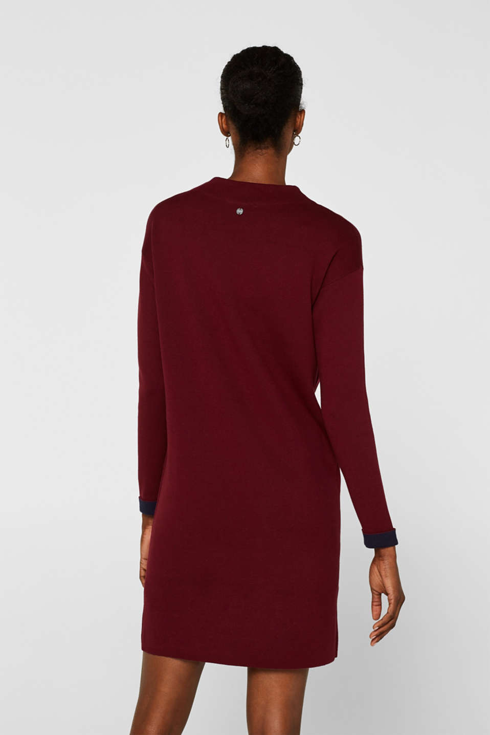 Dress in double-faced knit fabric, GARNET RED, detail image number 2