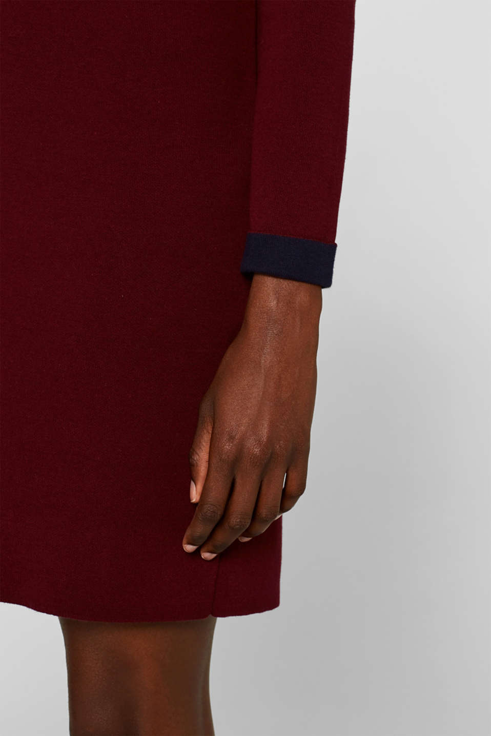 Dress in double-faced knit fabric, GARNET RED, detail image number 5