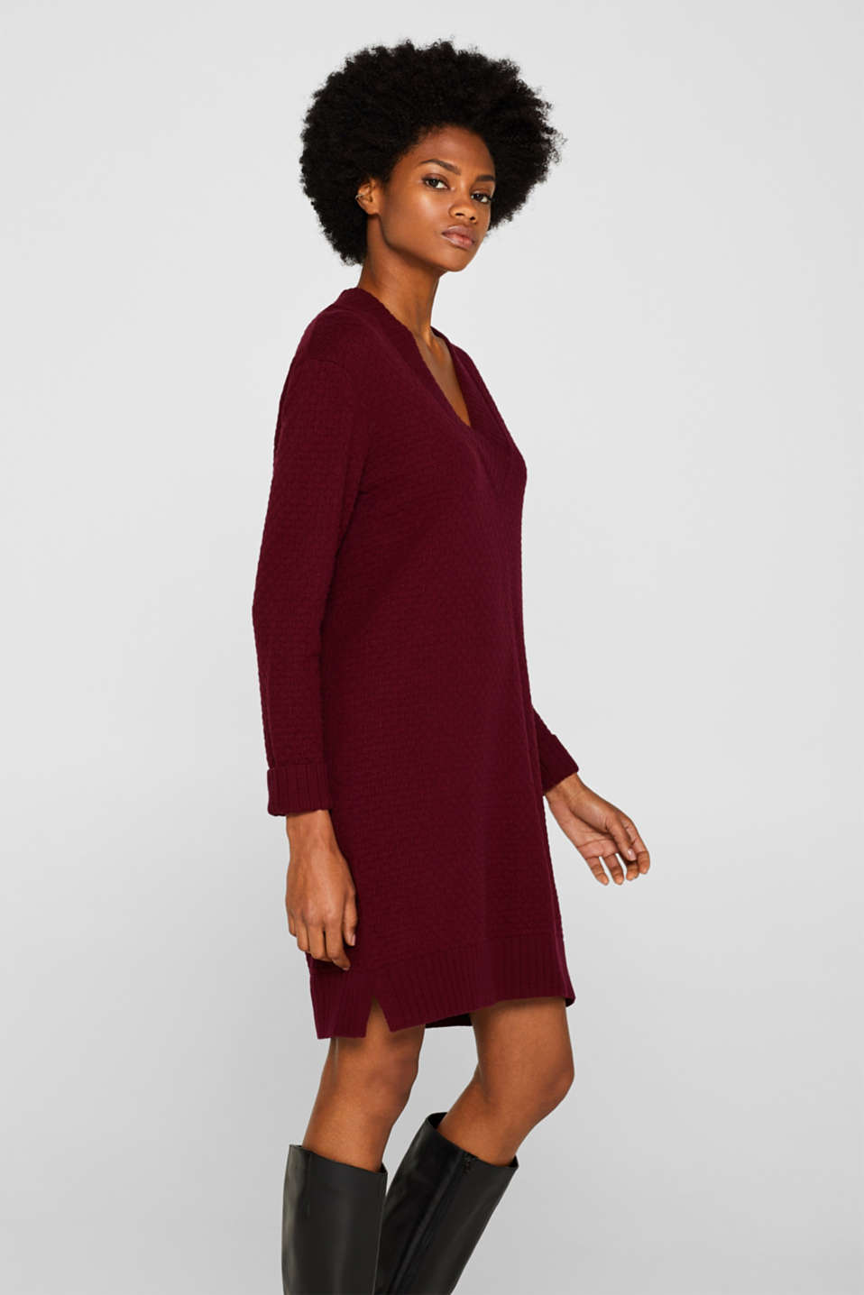 Esprit Mit Wolle: Kleid aus Struktur Strick im Online Shop