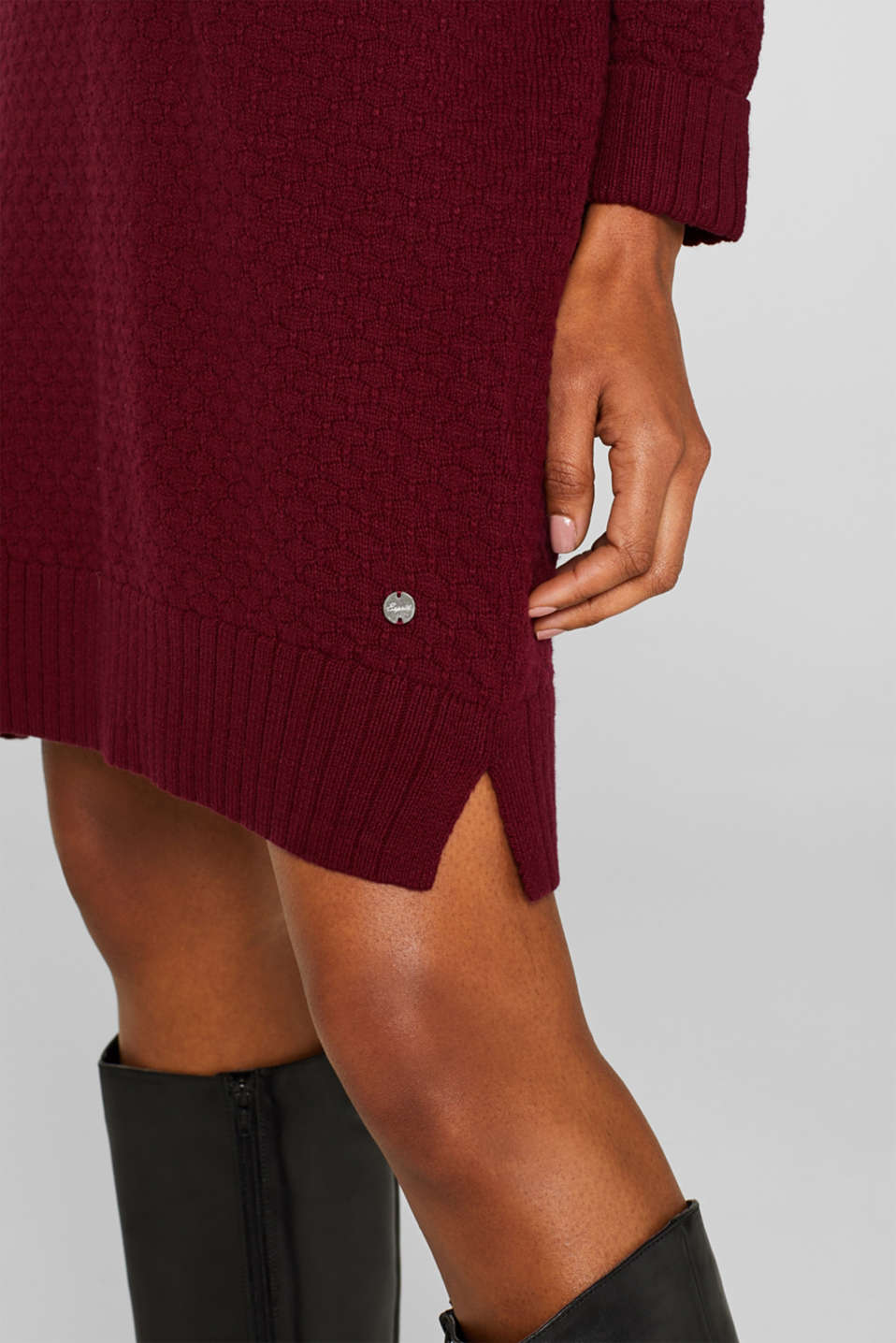 With wool: dress in textured knit, GARNET RED, detail image number 3