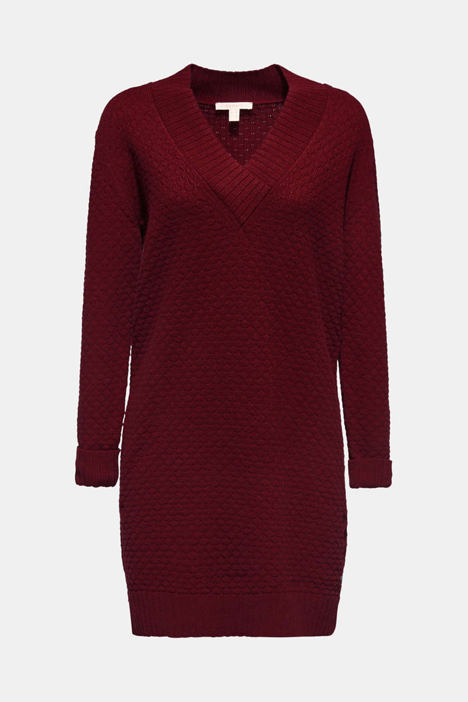 With wool: dress in textured knit, GARNET RED, detail image number 6