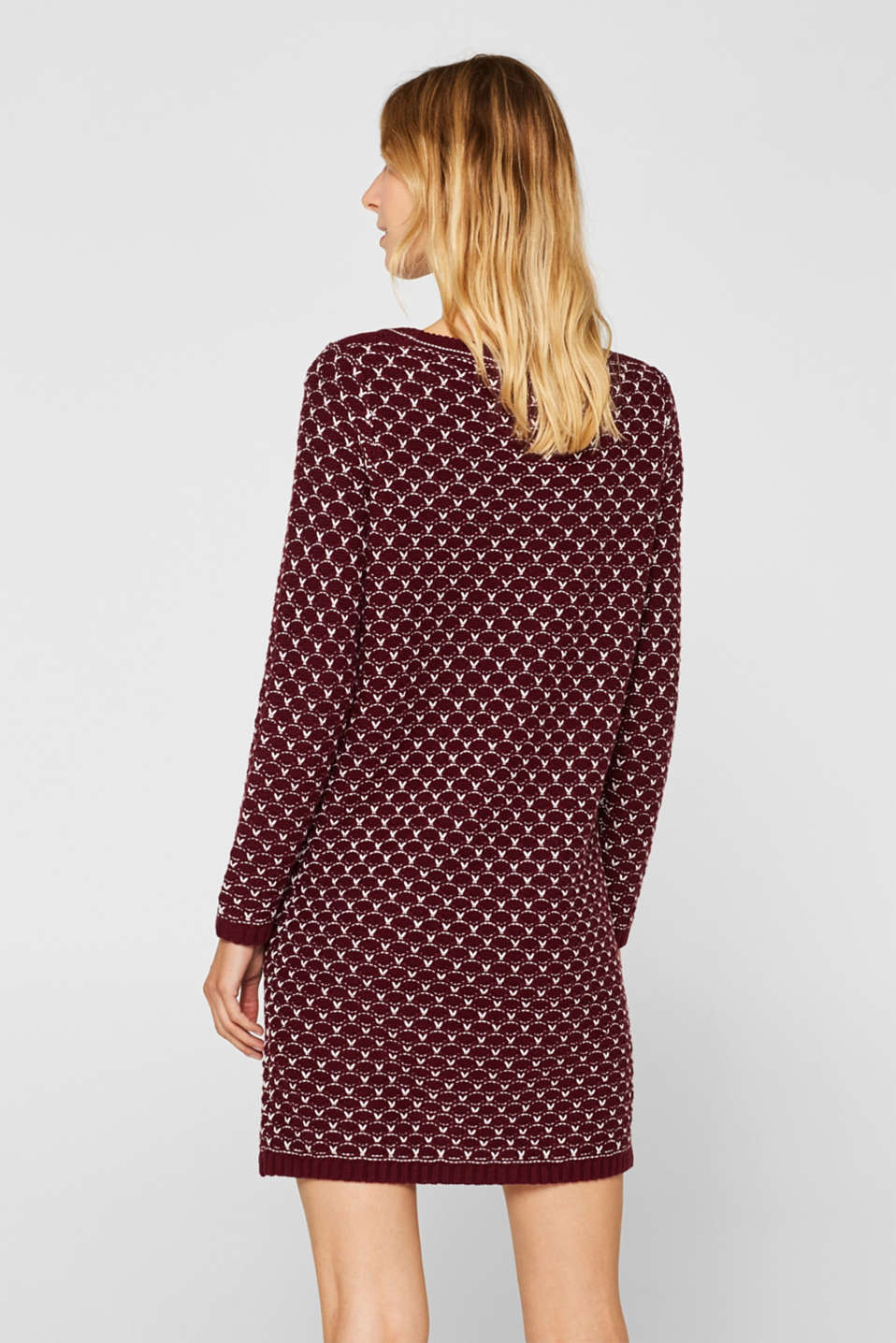Knitted dress with a honeycomb texture, GARNET RED, detail image number 2