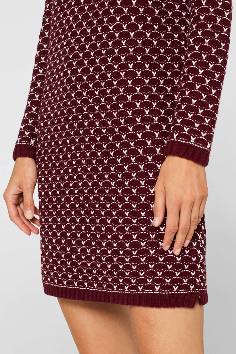 Knitted dress with a honeycomb texture, GARNET RED, detail image number 3