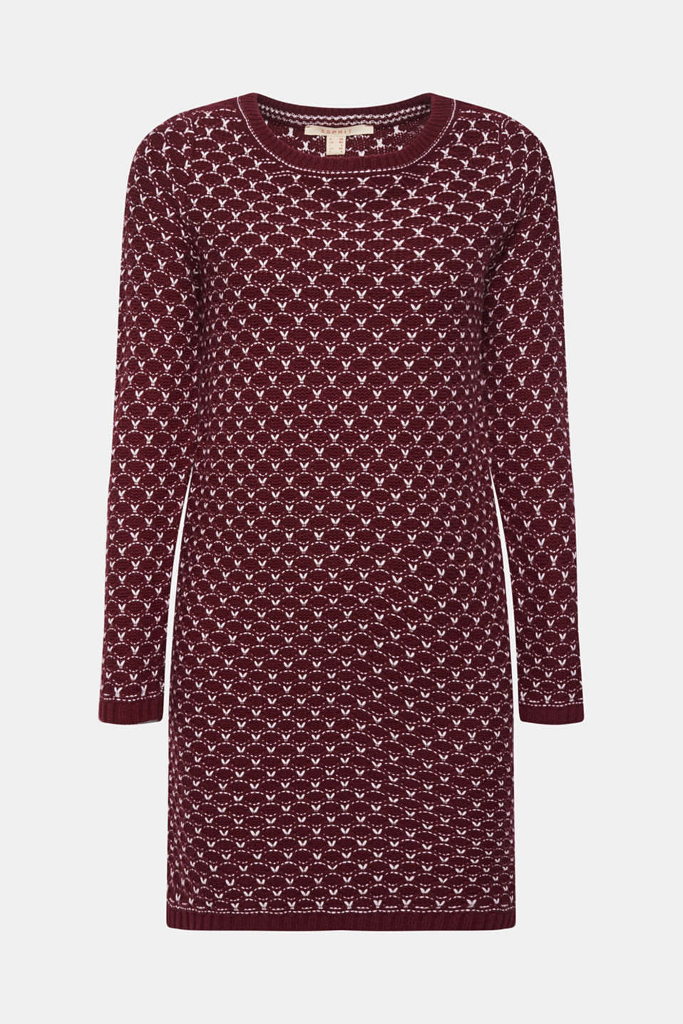 Knitted dress with a honeycomb texture, GARNET RED, detail image number 7