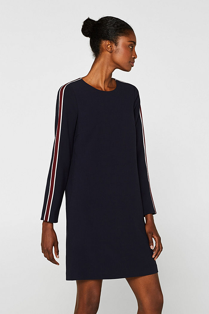 Woven dress with racing stripes, NAVY, detail image number 0