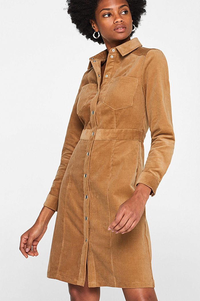 Stretch corduroy dress with press studs, CAMEL, detail image number 0