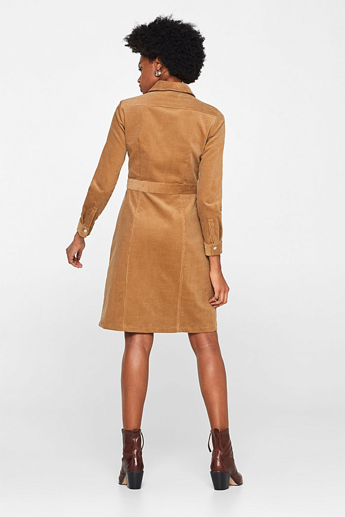 Stretch corduroy dress with press studs, CAMEL, detail image number 3