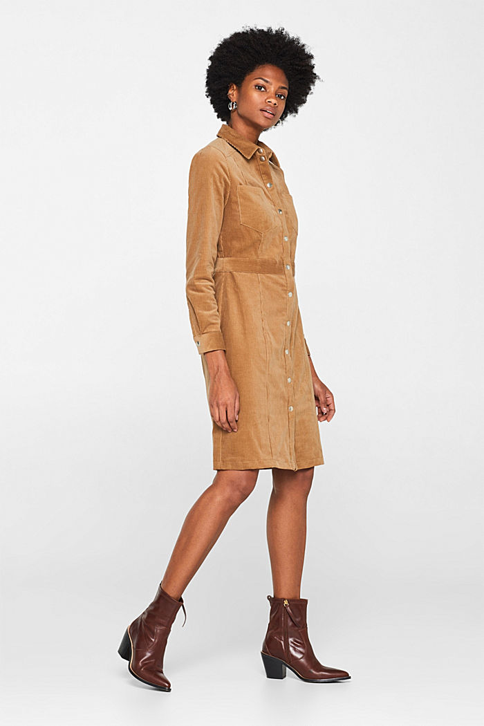 Stretch corduroy dress with press studs, CAMEL, detail image number 1