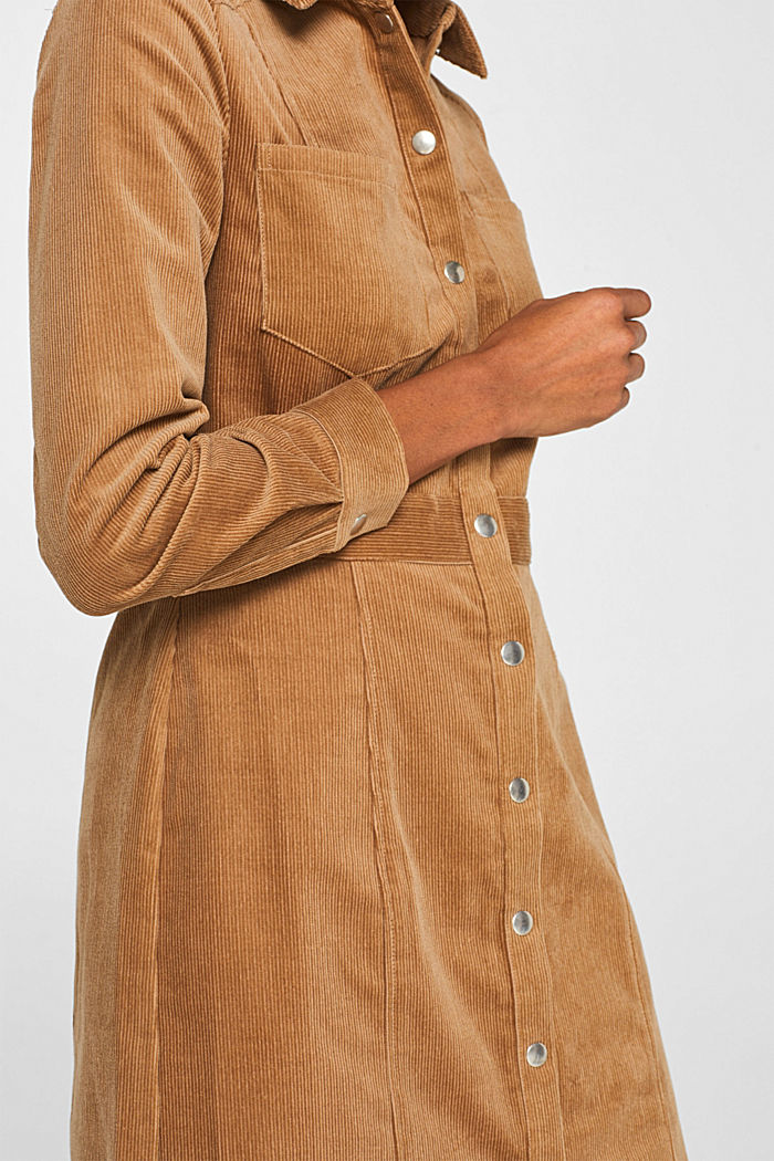 Stretch corduroy dress with press studs, CAMEL, detail image number 2
