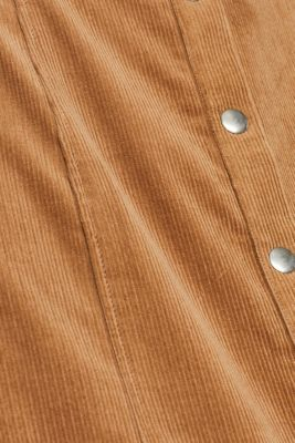 Stretch corduroy dress with press studs, CAMEL, detail