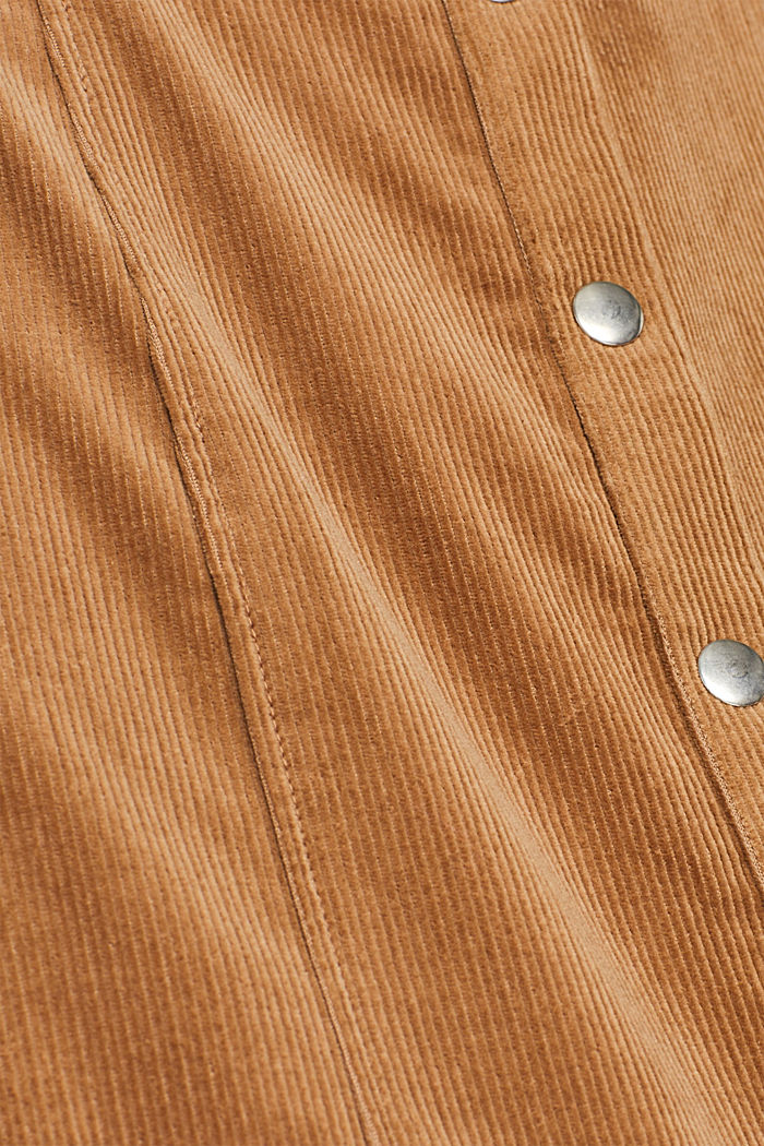 Stretch corduroy dress with press studs, CAMEL, detail image number 4