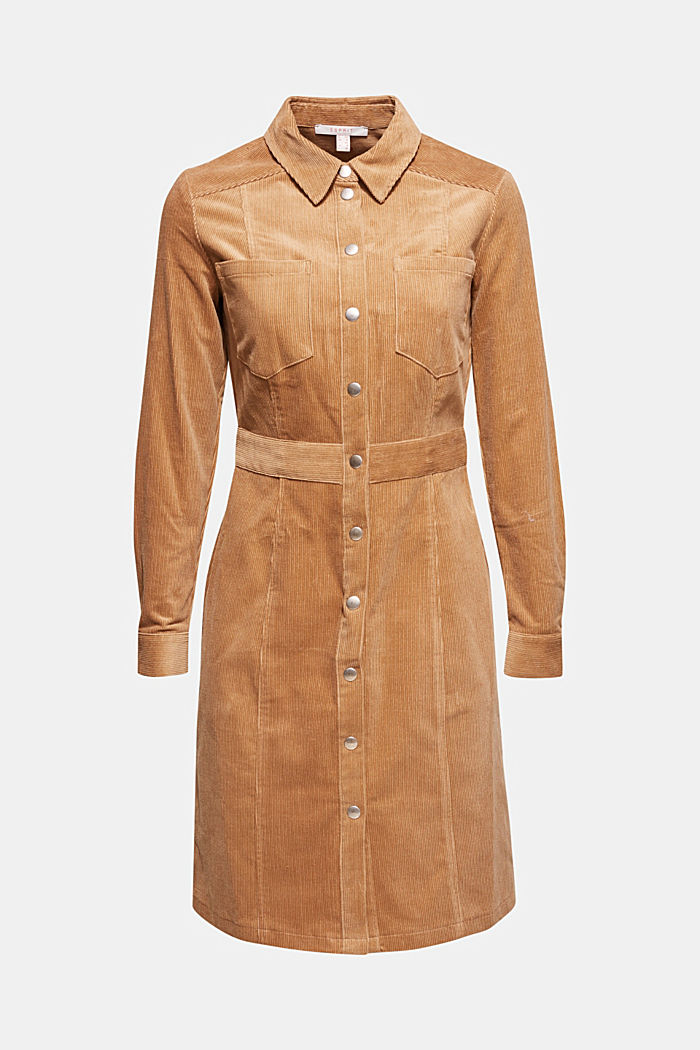 Stretch corduroy dress with press studs, CAMEL, detail image number 6