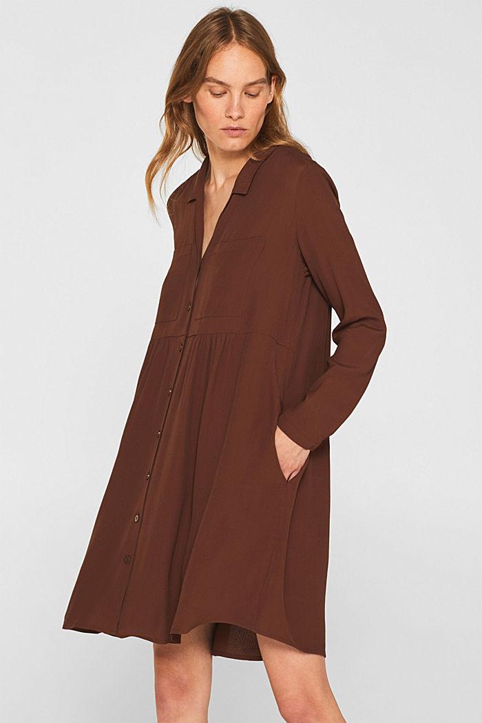 Fully flared smock dress, DARK BROWN, detail image number 0