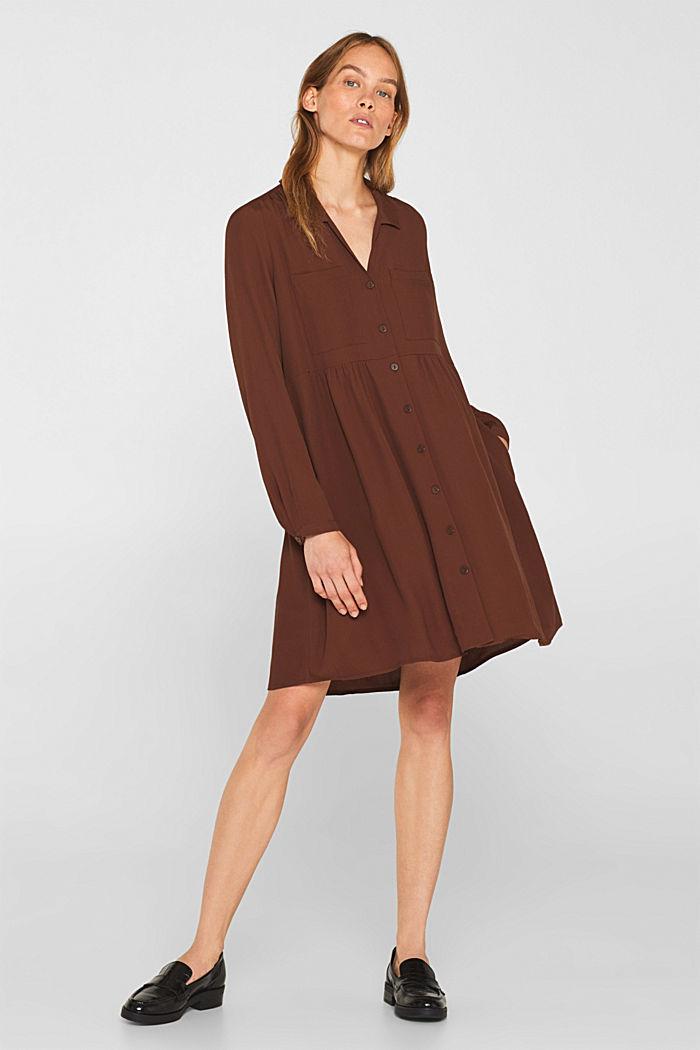 Fully flared smock dress, DARK BROWN, detail image number 6