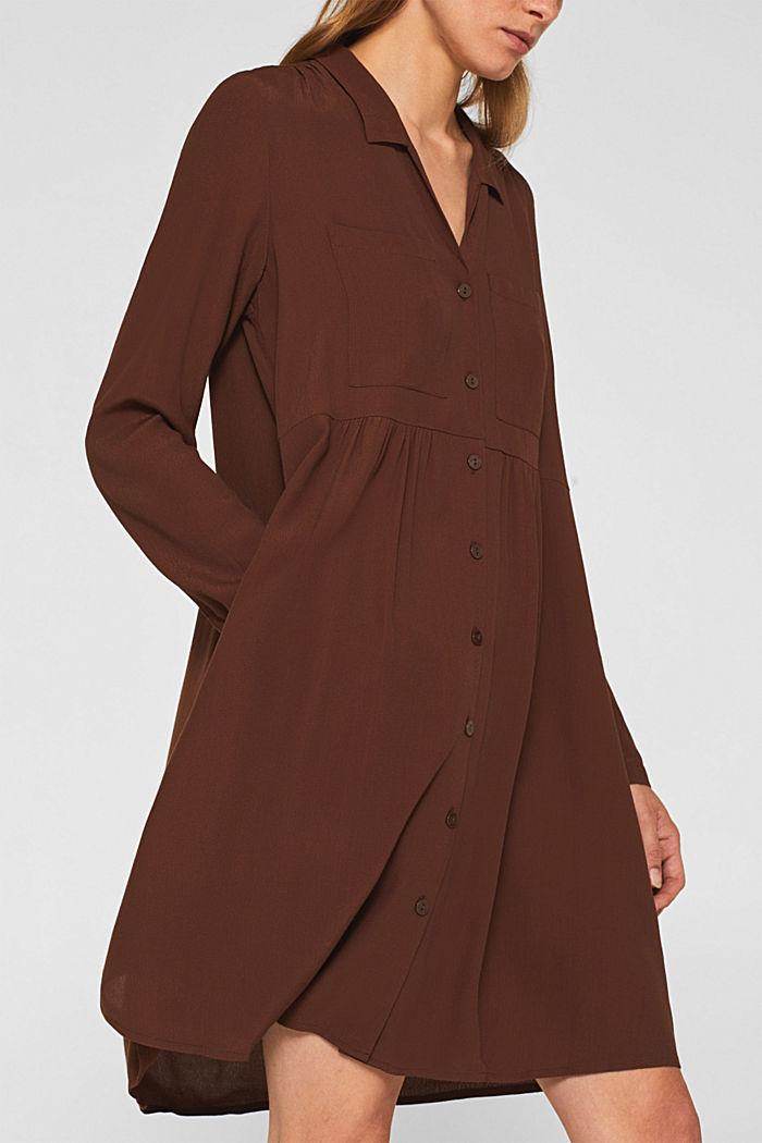 Fully flared smock dress, DARK BROWN, detail image number 3
