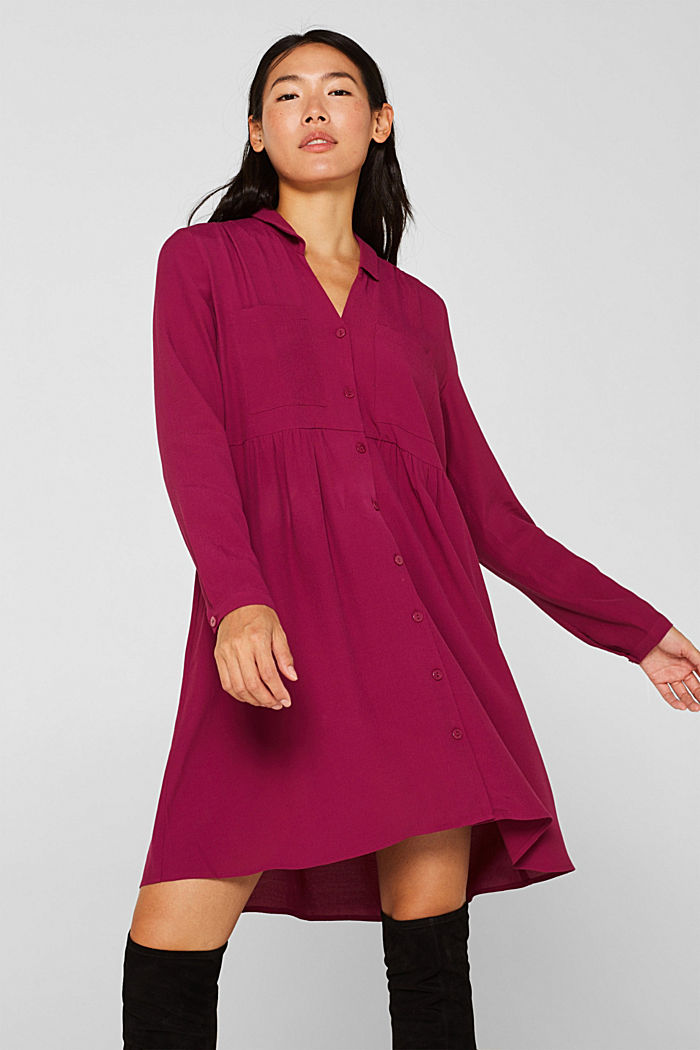 Fully flared smock dress, DARK PINK, detail image number 0