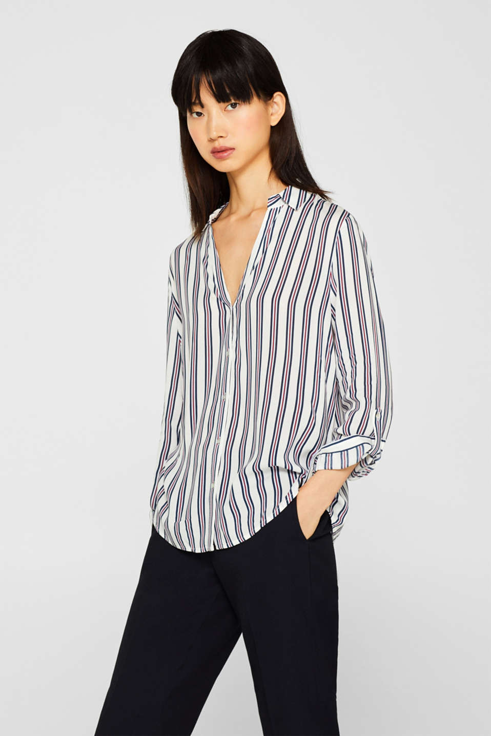Esprit - Shirt blouse with a striped print