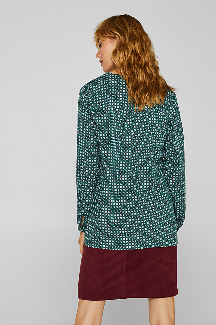 Print blouse with a Henley neckline, BOTTLE GREEN, detail image number 3
