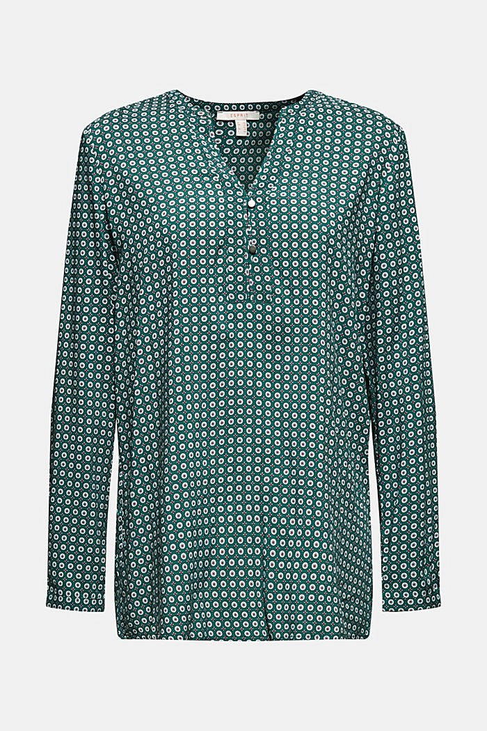 Print blouse with a Henley neckline, BOTTLE GREEN, detail image number 6