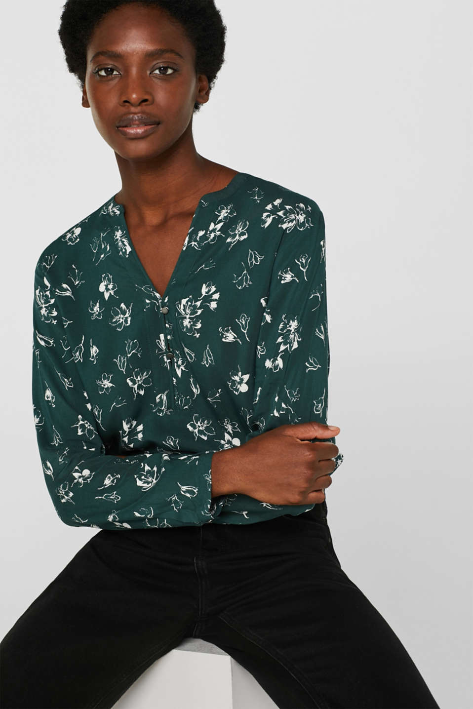 Print blouse with a Henley neckline, BOTTLE GREEN 2, detail image number 0