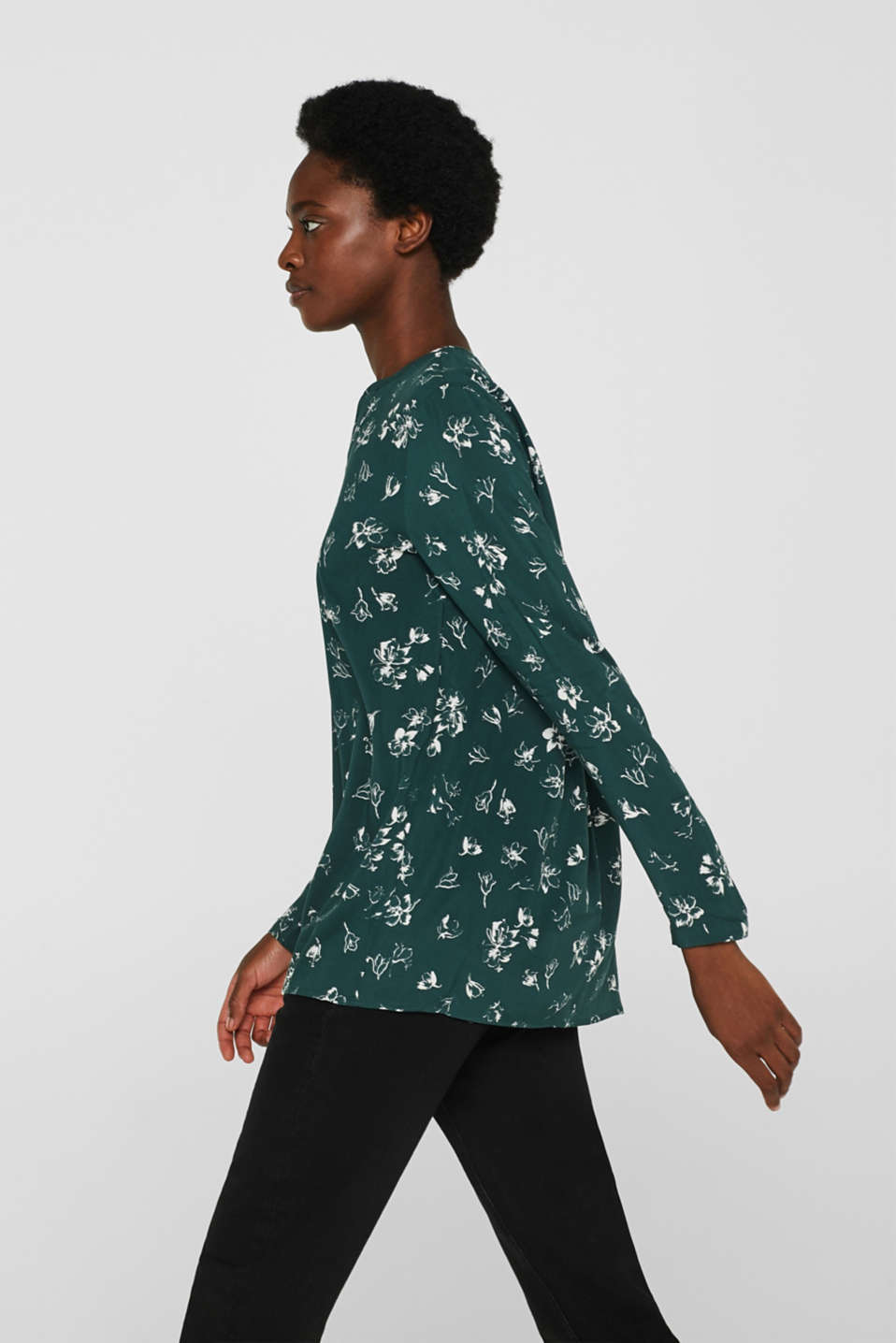 Print blouse with a Henley neckline, BOTTLE GREEN 2, detail image number 5