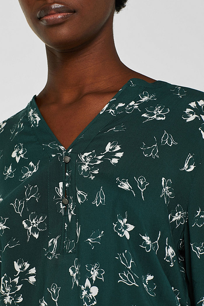Print blouse with a Henley neckline, NEW BOTTLE GREEN, detail image number 2