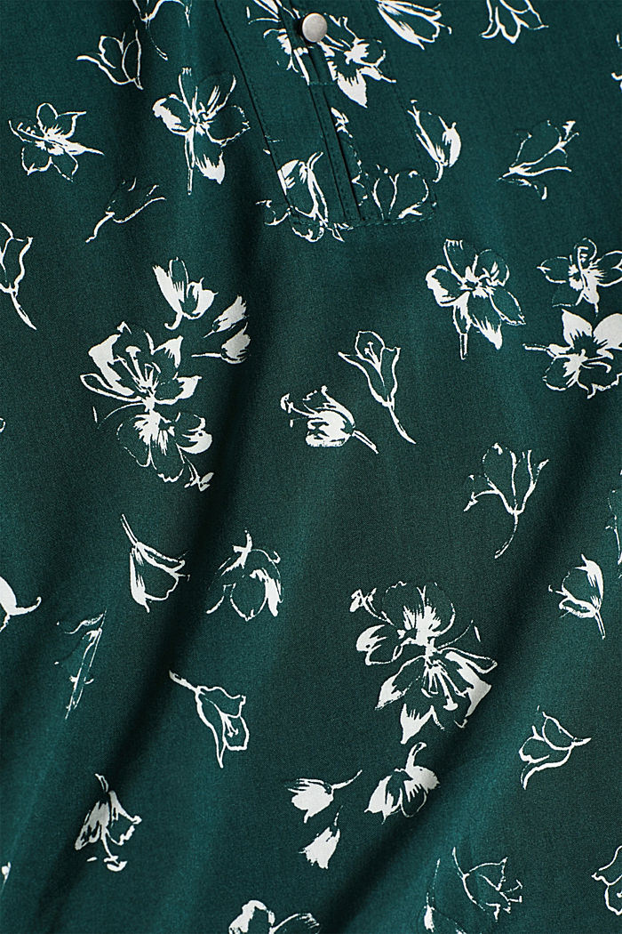 Print blouse with a Henley neckline, NEW BOTTLE GREEN, detail image number 4