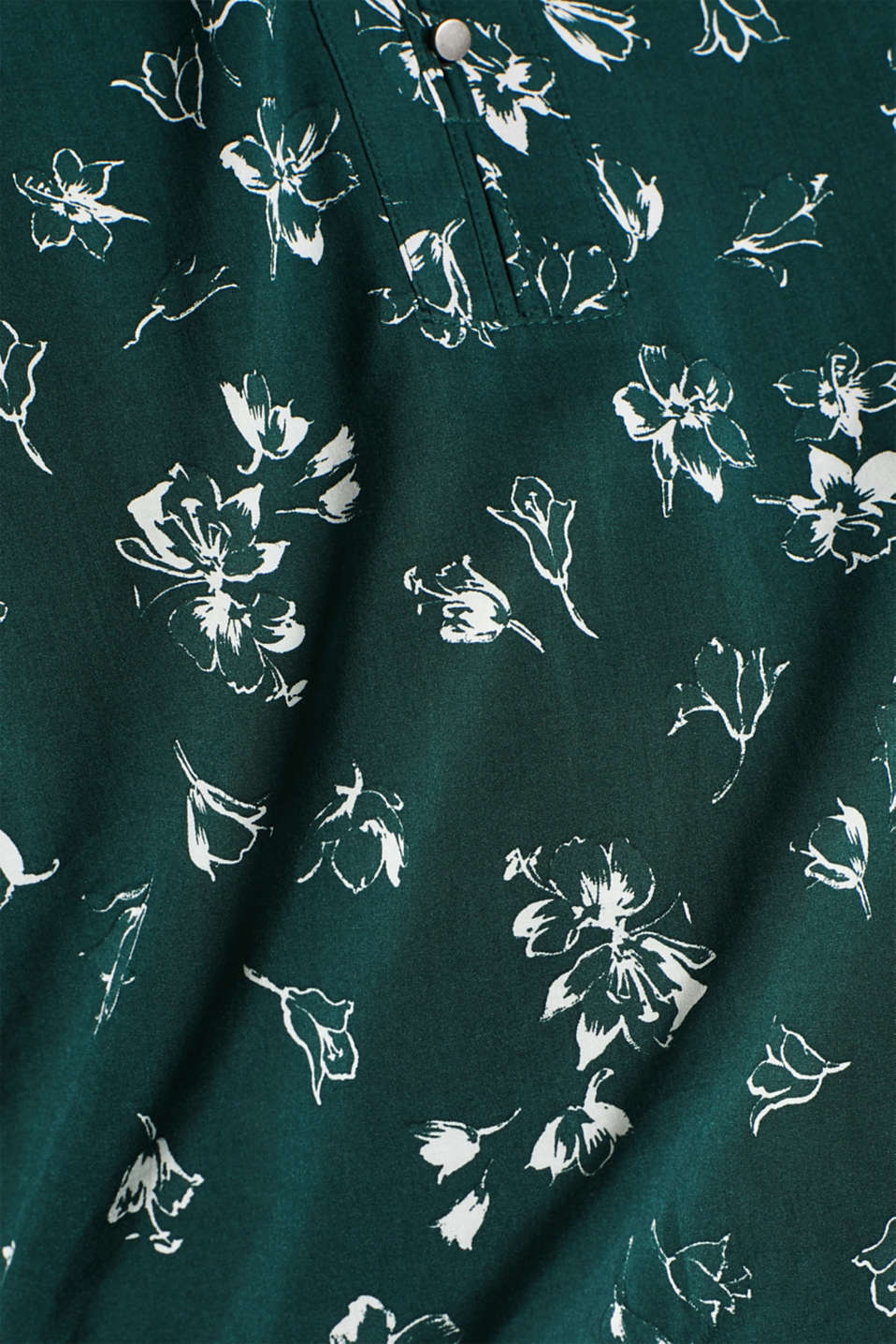 Print blouse with a Henley neckline, BOTTLE GREEN 2, detail image number 4