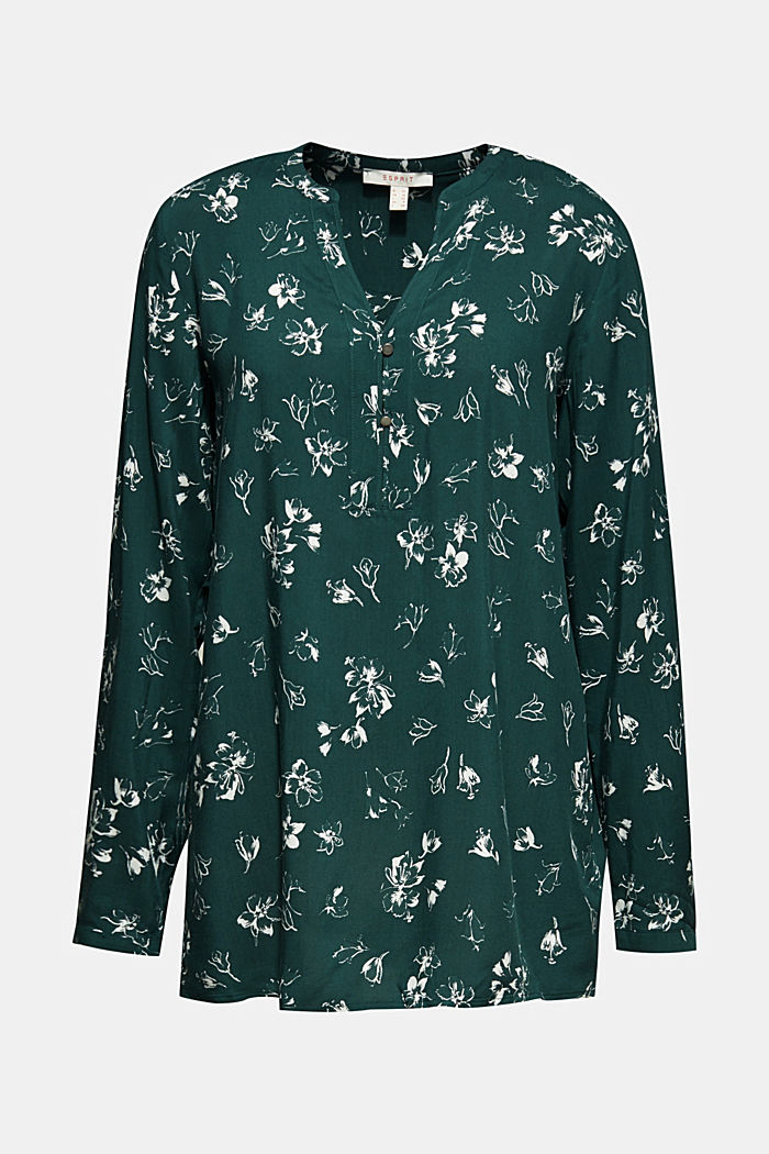 Print blouse with a Henley neckline, NEW BOTTLE GREEN, detail image number 7