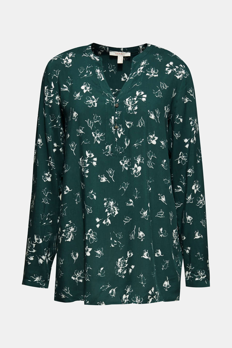 Print blouse with a Henley neckline, BOTTLE GREEN 2, detail image number 7