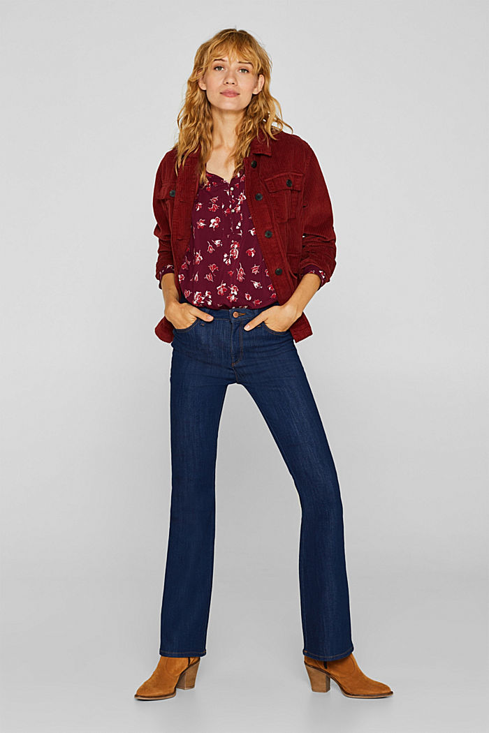 Print blouse with a Henley neckline, NEW GARNET RED, detail image number 1
