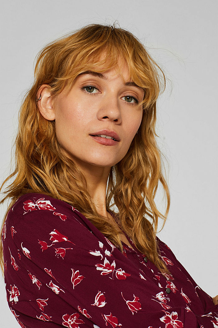 Print blouse with a Henley neckline, NEW GARNET RED, detail image number 6