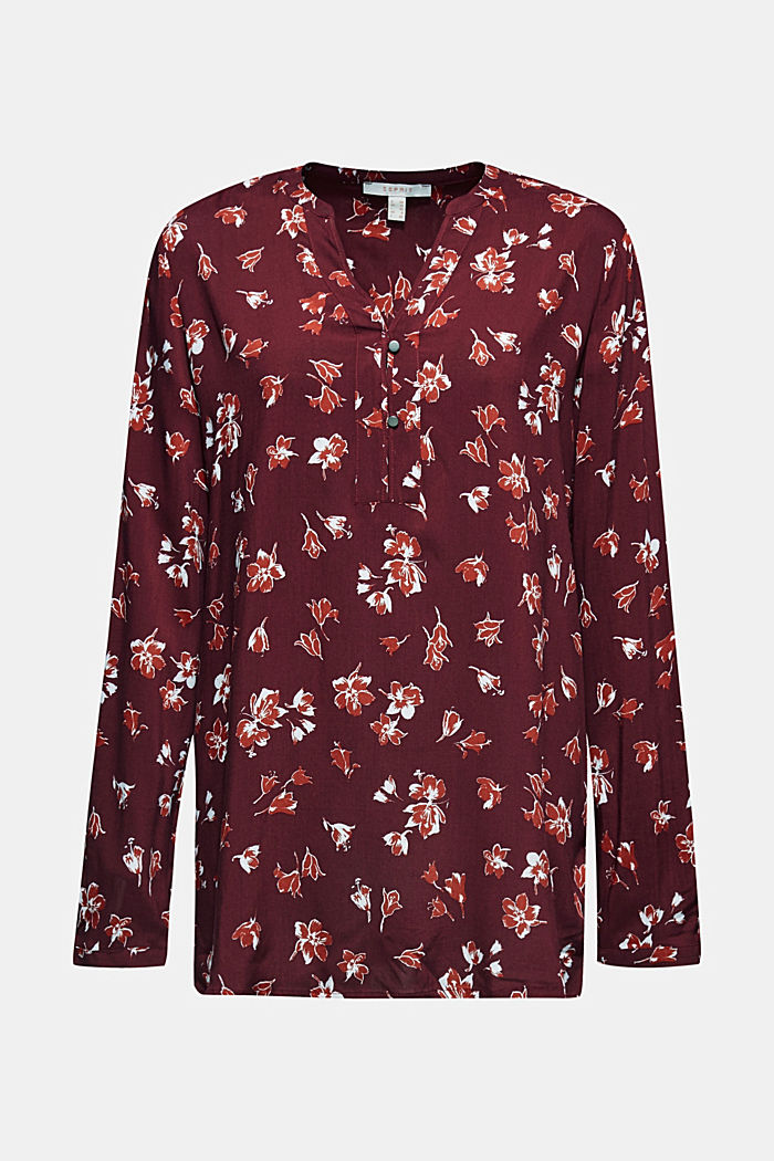 Print blouse with a Henley neckline, NEW GARNET RED, detail image number 7