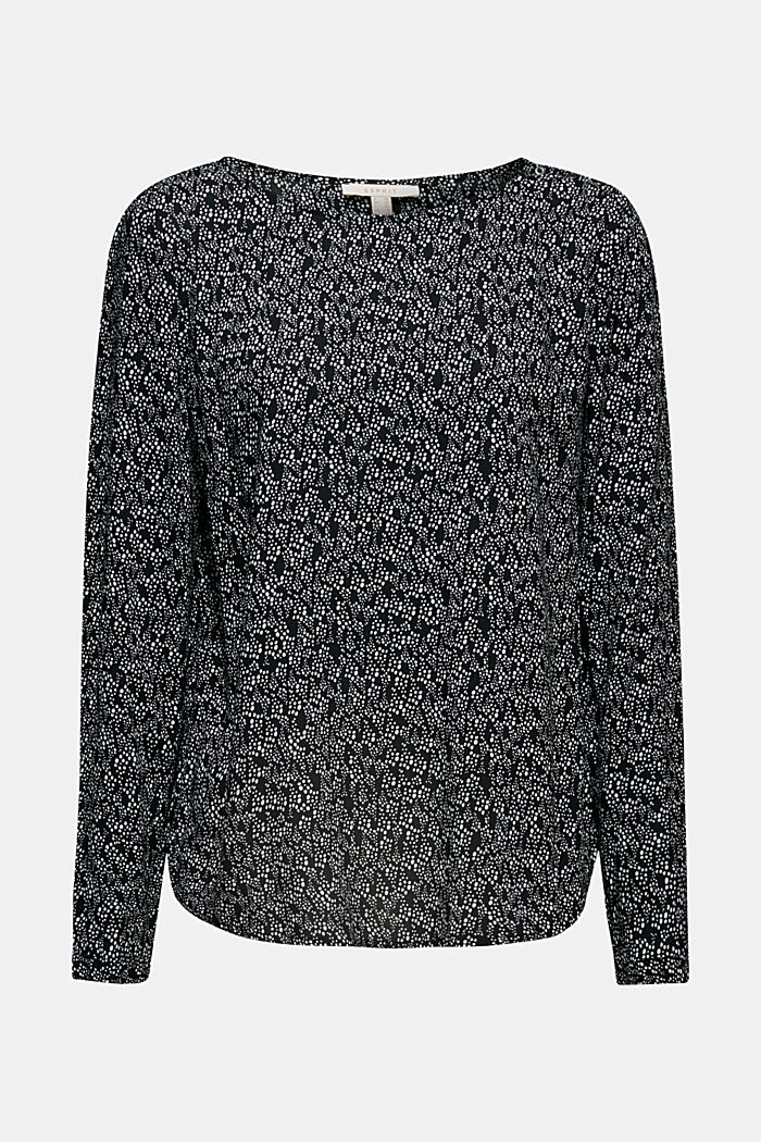 Print blouse top with LENZING™ ECOVERO™, BLACK, detail image number 5
