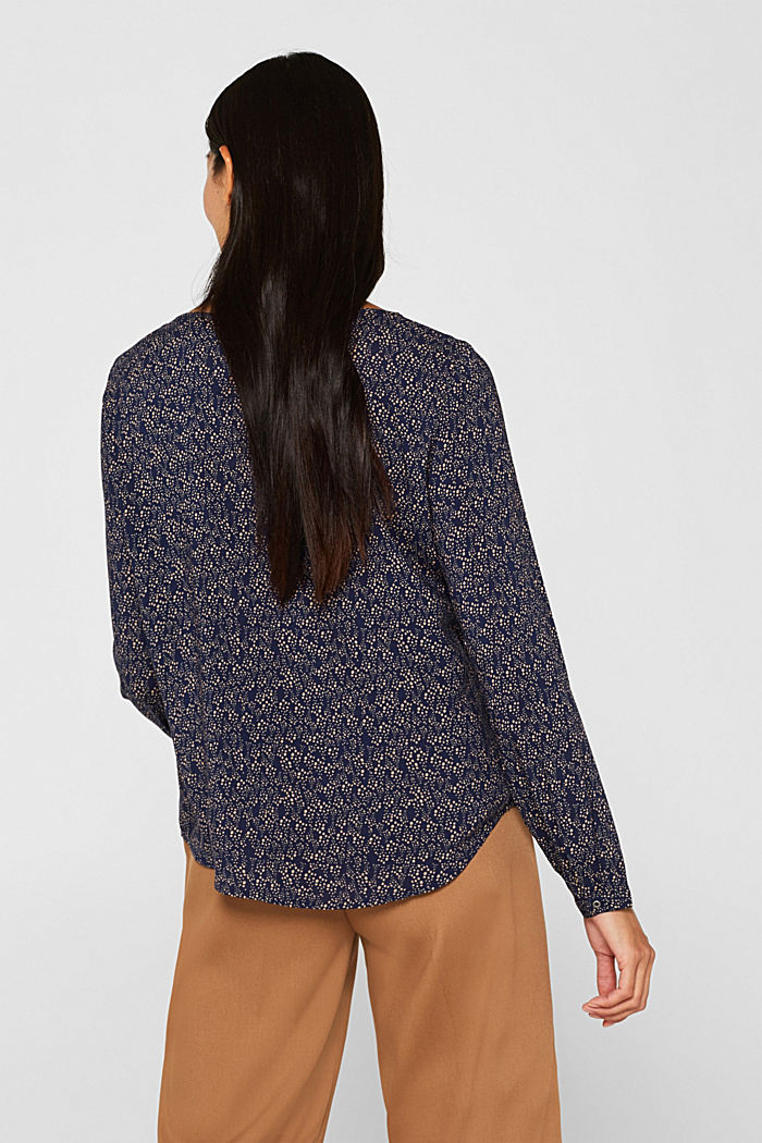 Print blouse top with LENZING™ ECOVERO™, NAVY, detail image number 3