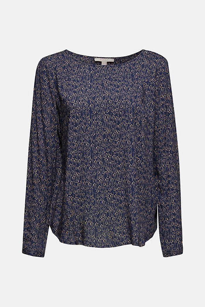Print blouse top with LENZING™ ECOVERO™, NAVY, detail image number 5