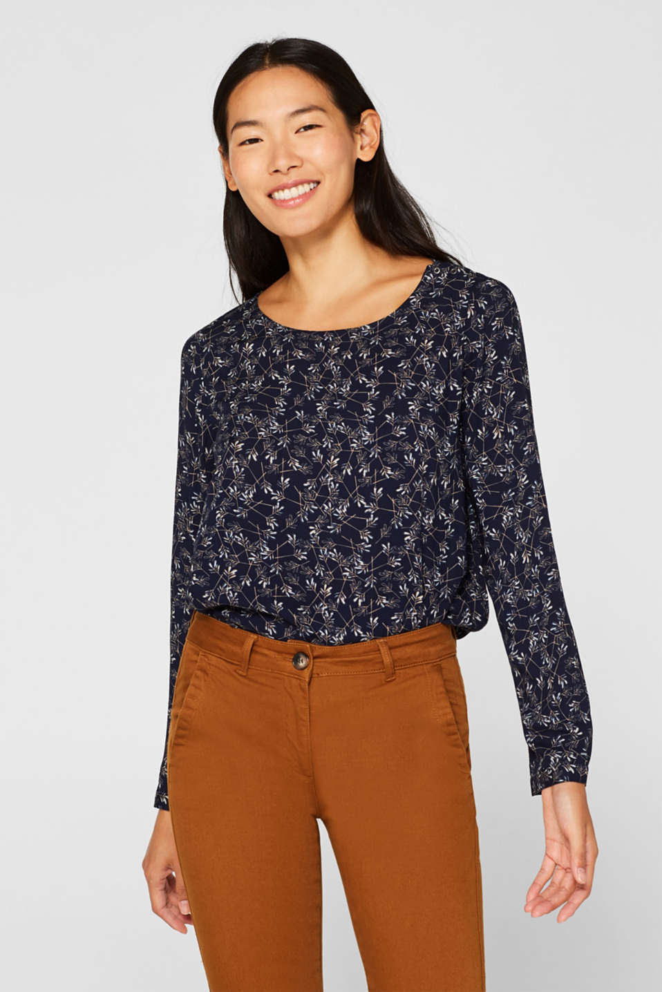Esprit - Print blouse top with LENZING™ ECOVERO™