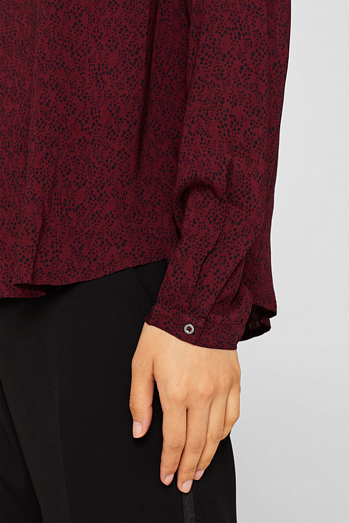 Print blouse top with LENZING™ ECOVERO™, GARNET RED, detail image number 2