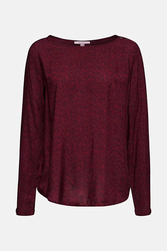 Print blouse top with LENZING™ ECOVERO™, GARNET RED, detail image number 5