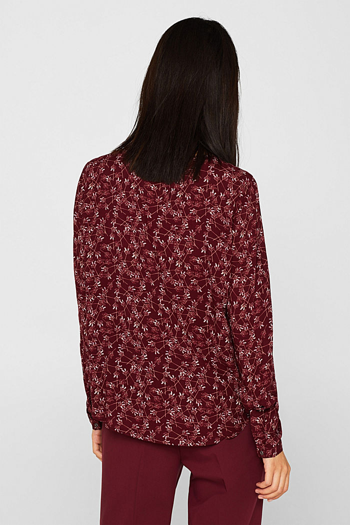 Print blouse top with LENZING™ ECOVERO™, NEW GARNET RED, detail image number 3